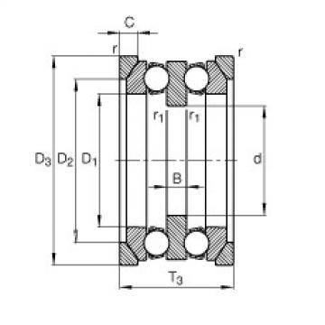 FAG محوري الأخدود العميق الكرات - 54208 + U208